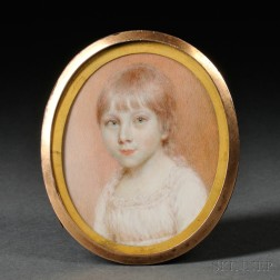 Anglo/American School, Early 19th Century      Portrait Miniature of a Young Strawberry-blonde-haired Girl.
