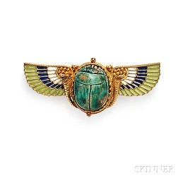 Egyptian Revival 18kt Gold, Faience Scarab, and Enamel Brooch