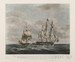 Robert and Daniel Havell (British, 18th/19th Century) Four Plates of the Engagement between His Majestys ...
