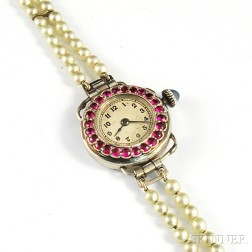 Lady's LeCoultre Platinum and Ruby Wristwatch