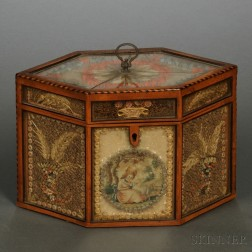 Quillwork Inlaid Fruitwood Tea Caddy