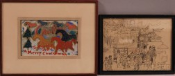 Two Framed Works Dedicated to Gifford Beals (American, 1879-1956):      Jerome Myers (American, 1867-1940), Festival Scene