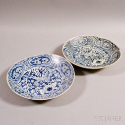 Two Blue and White Double Phoenix Swatow Dishes