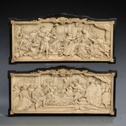 Pair of Carved Ivory Plaques