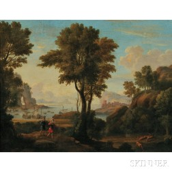 Continental School, 18th Century      Stag Hunt in an Arcadian Landscape