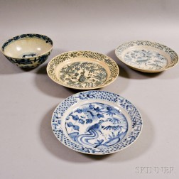 Four Blue and White Dishes
