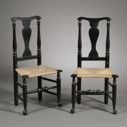 Pair of Black-painted Queen Anne Chairs