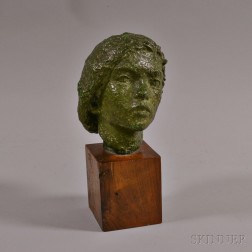 Patinated Bronze Head of Woman in a Beret on Wooden Base