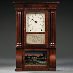 Brewster Manufacturing Company Miniature Column & Cornice Shelf Clock