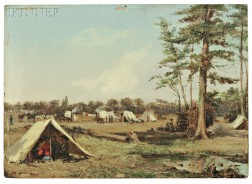 Conrad Wise Chapman (American, 1842-1910)      Cavalry Camp of the So. Ca. Holcomb Legion, New Kent, Co. Va. Mar., 1863