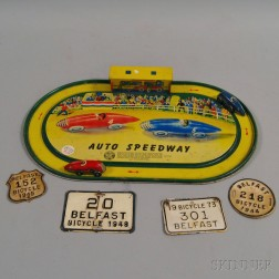"Lithographed Tin ""Auto Speedway"" Toy Car Game"