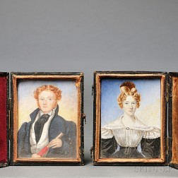 American School, Early 19th Century      Miniature Portraits of a Sea Captain and His Wife.