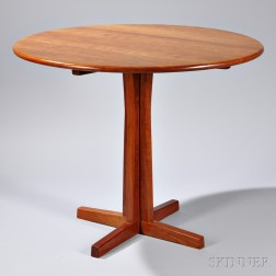 Charles Webb Cherry Table, late 20th century, circular top on a four-part post continuing to feet, dia. 36 in.