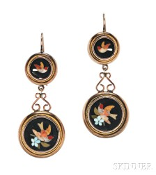 Antique Gold and Pietra Dura Earrings