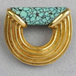 "18kt Gold and Turquoise ""Ridged Logic"" Brooch, Christopher Walling"