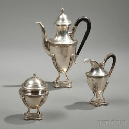 Three-piece German .800 Silver Tea Service