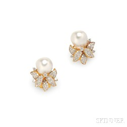 18kt Gold, Baroque South Sea Pearl, and Diamond Earclips