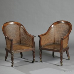 Pair of Regency Rosewood Caned Bergere Library Chairs