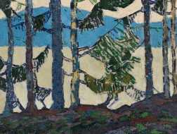 Frank H. Johnston (Canadian, 1888-1949)      Pines by a Mountain Lake