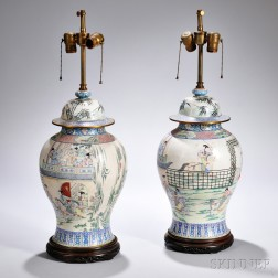 Pair of Canton Enamel Covered Jars Mounted as Lamps