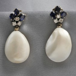14kt White Gold, Freshwater Blister Pearl, Sapphire, and Diamond Earpendants
