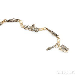 Antique 18kt Gold and Silver Fob Chain and Watch Key
