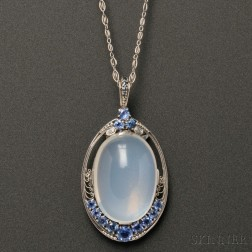 Arts & Crafts Platinum, Moonstone, and Sapphire Pendant, Tiffany & Co.