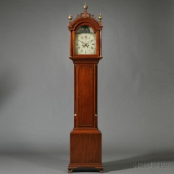 Federal Carved and Inlaid Mahogany Tall Case Clock