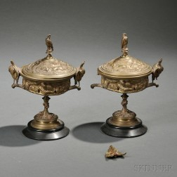 Jules Moigniez (French, 1835-1894)       Pair of Bronze Covered Urns