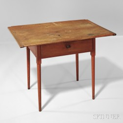 Shaker Red-stained One-drawer Table