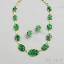 14kt Gold and Jade Necklace and Earrings, Tiffany & Co.