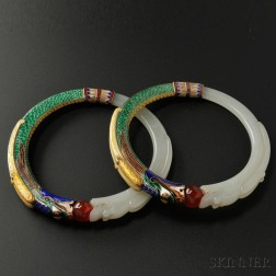 Rare Pair of Jade and Enamel Bangles, Marie Zimmermann