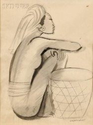 Miguel Covarrubias (Mexican, 1904-1957)      Seated Woman with a Basket
