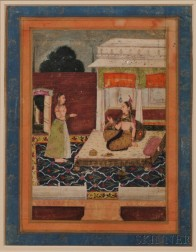 Miniature Painting Depicting a Princess and Her Maid