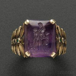Rare Gold and Amethyst Intaglio Ring, Marie Zimmermann