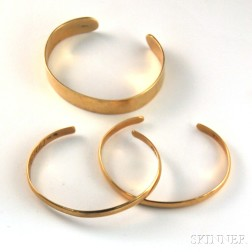 Three 14kt Gold Cuff Bracelets