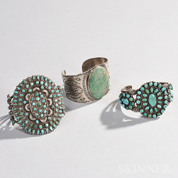 Three Southwest Silver and Turquoise Bracelets