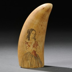 Scrimshaw Whale's Tooth Decorated with a Fashionable Young Lady