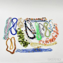 Group of Beaded Glass Necklaces