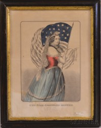 Framed Currier & Ives Hand-colored Lithograph The Star Spangled Banner.