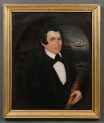 Attributed to Joseph Whiting Stock (Massachusetts, 1815-1855)      Portrait of Sea Captain Coffin of New Bedford, Massachusetts.