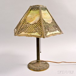 Late Victorian Metal Overlay and Carmel Slag Glass Table Lamp