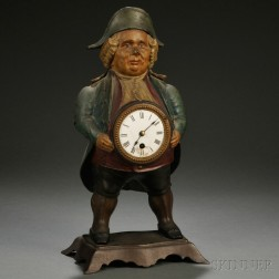Painted Cast Iron Figural Blinking Eye Novelty Clock/Timepiece