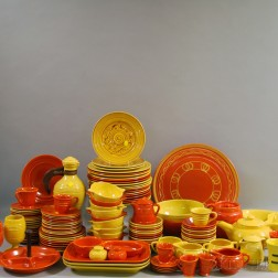 Large Group of Yellow and Orange Pacific Pottery
