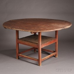 Red-painted Maple, Ash, and Pine Hutch Table