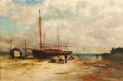 George McCord (American, 1848-1909)      Boats on the Shore