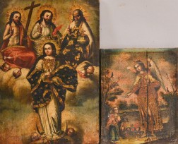Spanish Colonial School, 18th/19th Century      Two Works: Assumption of the Virgin Mary