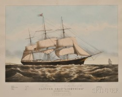 "Nathaniel Currier, publisher (American, 1838-1856)      CLIPPER SHIP ""LIGHTNING,"""