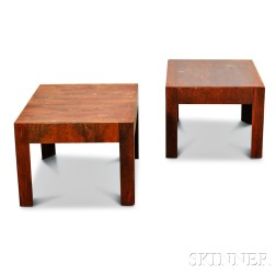 Pair of Modern Italian Walnut Veneer Cube Tables