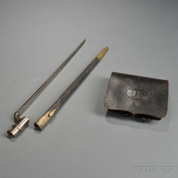 1864 Pattern Cartridge Box, Enfield Bayonet, and Scabbard
